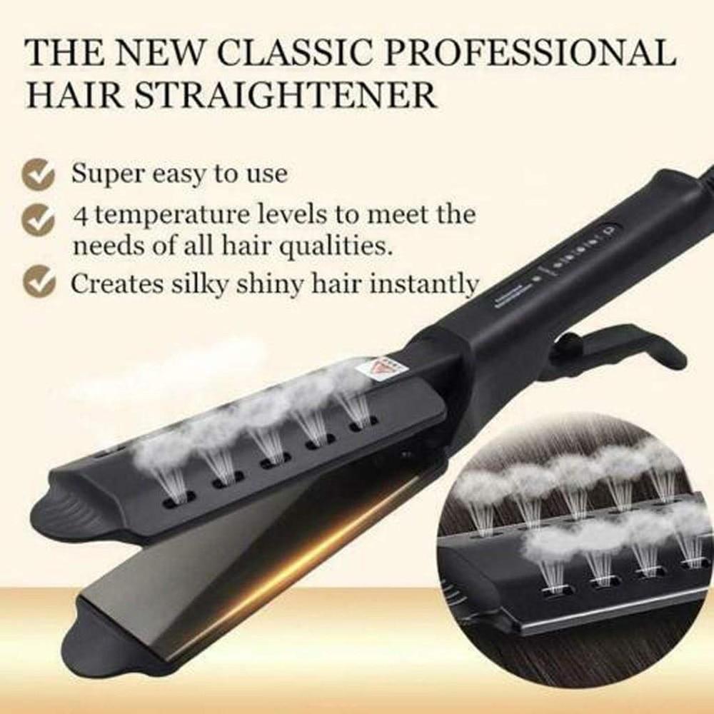 Four-gear Hair Straightener Tourmaline Ceramic Flat Iron Ionic Steam Hair Straightener Vapor Straightening Irons Widen panel
