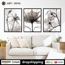 Современные черно белые цветочные растения ботанические постеры