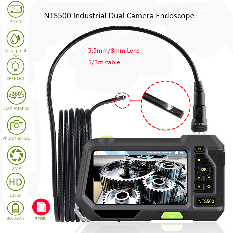 NTS500 5.5mm 8mm Dual Camera Lens 1080P HD 5.0 Screen LCD Pipe Car Inspection Camera Endoscope IP67 Videoscope Underwater Kamera