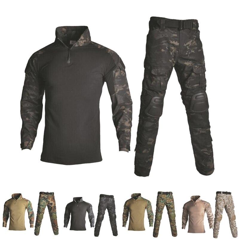 Военная Униформа рубашка + брюки с наколенниками для улицы, страйкбол, пейнтбол, Тактический Костюм, камуфляж, одежда для охоты