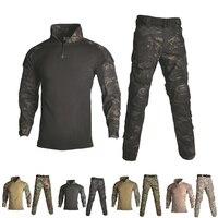 Uniforme militar camisa + calças com joelho almofadas cotovelo airsoft paintball tático ghillie terno camuflagem roupas de caça ao ar livre|Roupas de camuflagem p/ caça| |  -