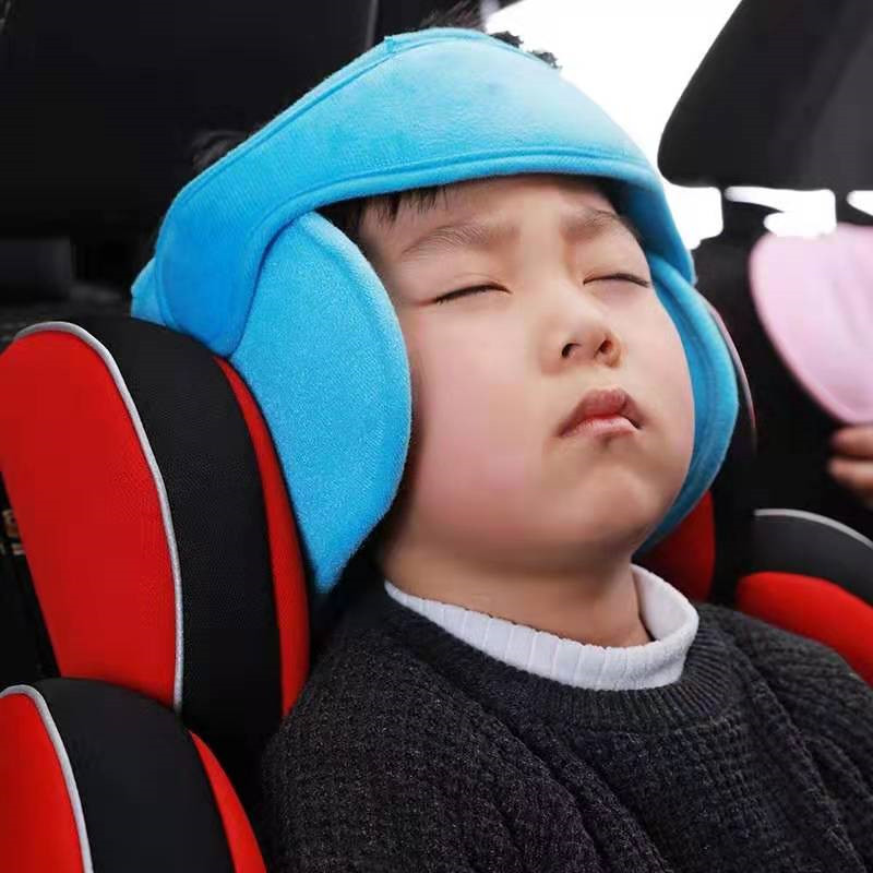 Child Baby protection headband- Neck Pillow Car Seat Belt Sleep Safety Strap Headrest- Car Neck Pad Travel Pillow image