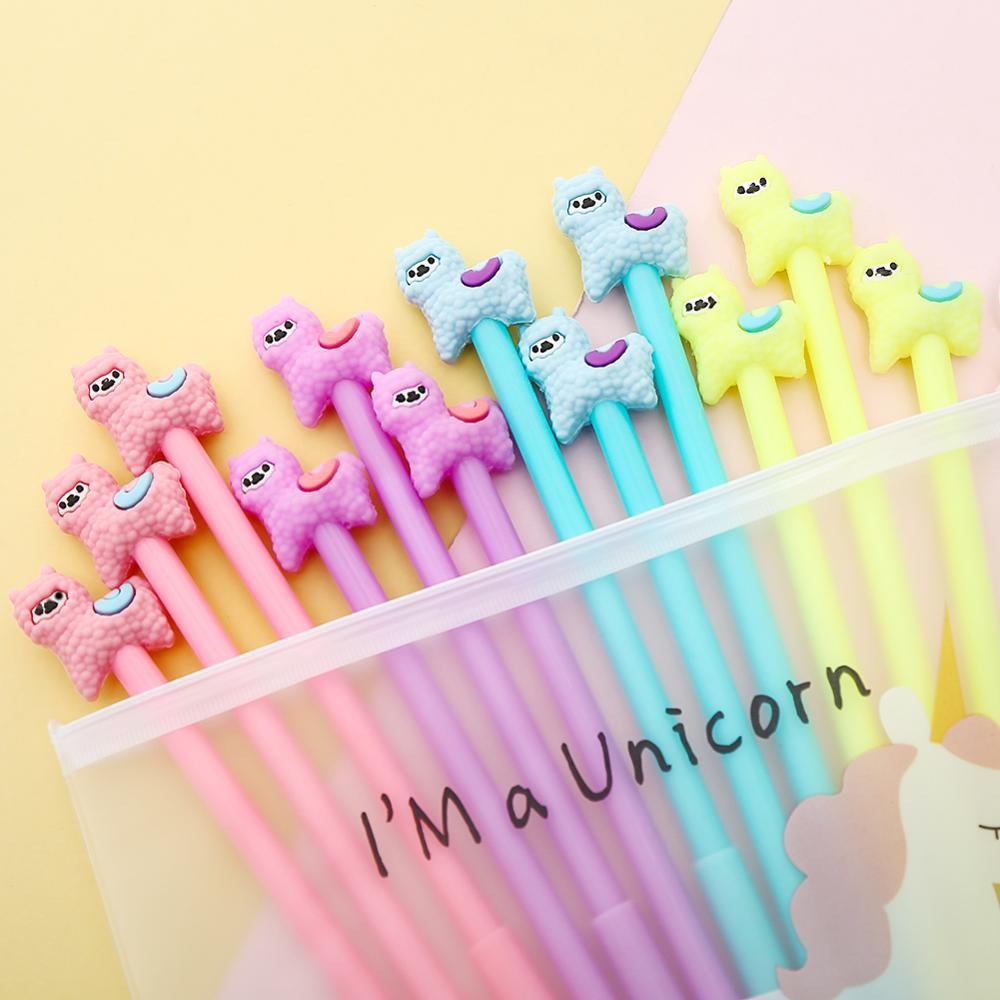 12Pcs/pack Korean Cute Alpaca Gel Pens Blue Ink Novelty Fun Cool Sheep Animal Rollerball Point Stationery Pencil Case Bag Thing(China)