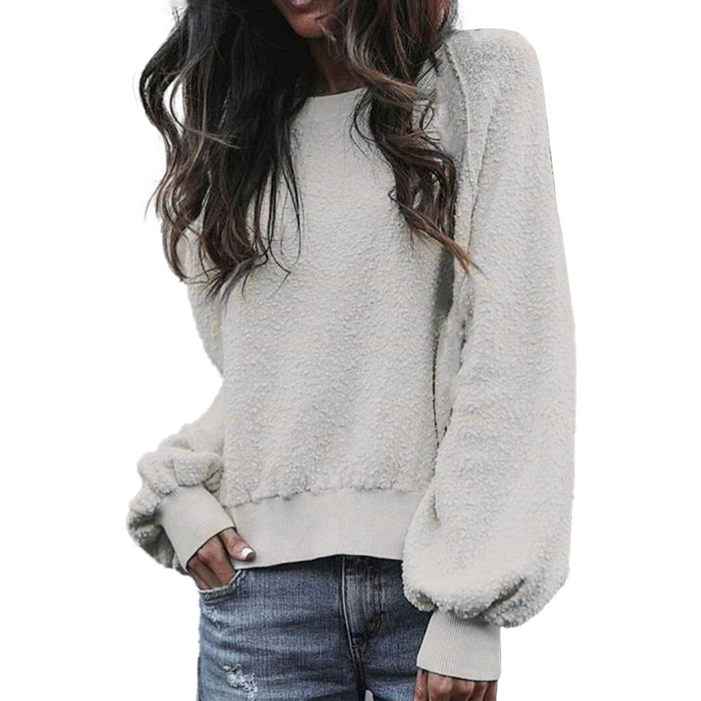 JAYCOSIN Ladies Solid long-sleeved Plush Pullover Sweatshirt Round Neck Grey Loose Casual Sweatshirt Autumn Winter Fashion