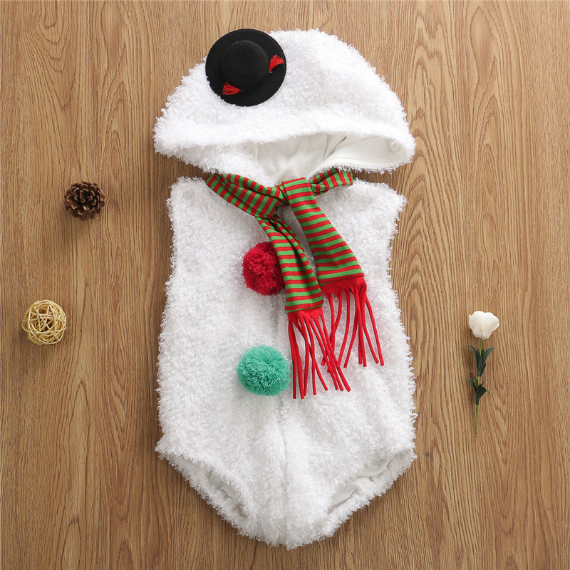 Newborn Baby Girl Boy Kid Romper Christmas Snowman Costume Hooded Outfit Clothes