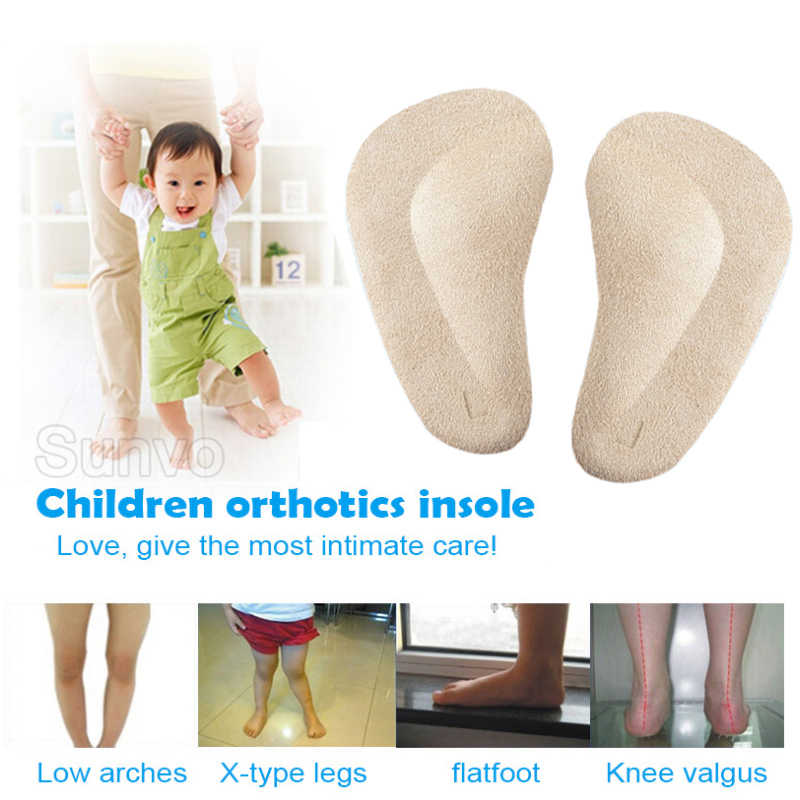 2 Pairs Silicone Gel Children Insoles for Kids Baby Flat Foot Arch Support Orthotics Orthopedic Corrector Flatfoot Care Shoe Pad