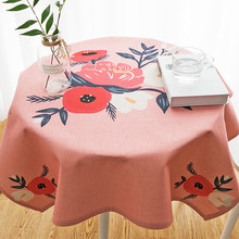 Household fresh cotton and linen small round tablecloth, waterproof rectangular coffee table cloth.