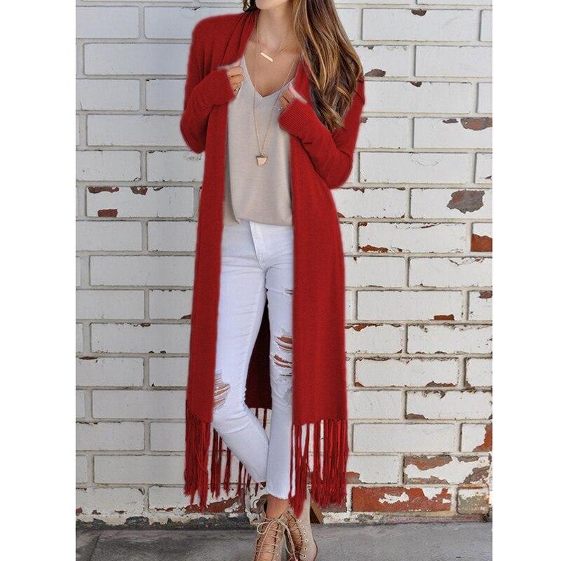 Женский кардиган с кисточками, свитера, Осенние Женские однотонные мягкие свитера с длинным рукавом, женские теплые мягкие свитера