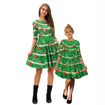 Christmas dresses mother daughter mommy and me clothes family matching outfits look women girls mom mum and baby dress clothing