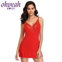 Ohyeahlover Nighty For Ladies Backless Lingerie Sleepwear V Neck Night Gowns Plus Size Lace Babydoll Cotton Nightdress RL80729