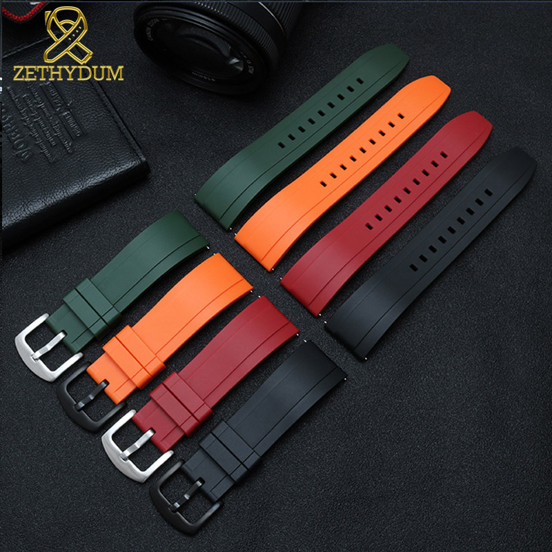 Image 5 - fluororubber watch strap Silicone Rubber bracelet quick release bar 22mm watchband for huawei watches other brands watch band-in Watchbands from Watches