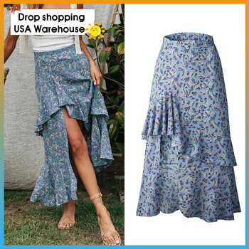 OUSHANG Women Summer 2020 Elegant Casual  Boho Long Skirts Beach Holiday Female Floral Print High Waist Ruffle