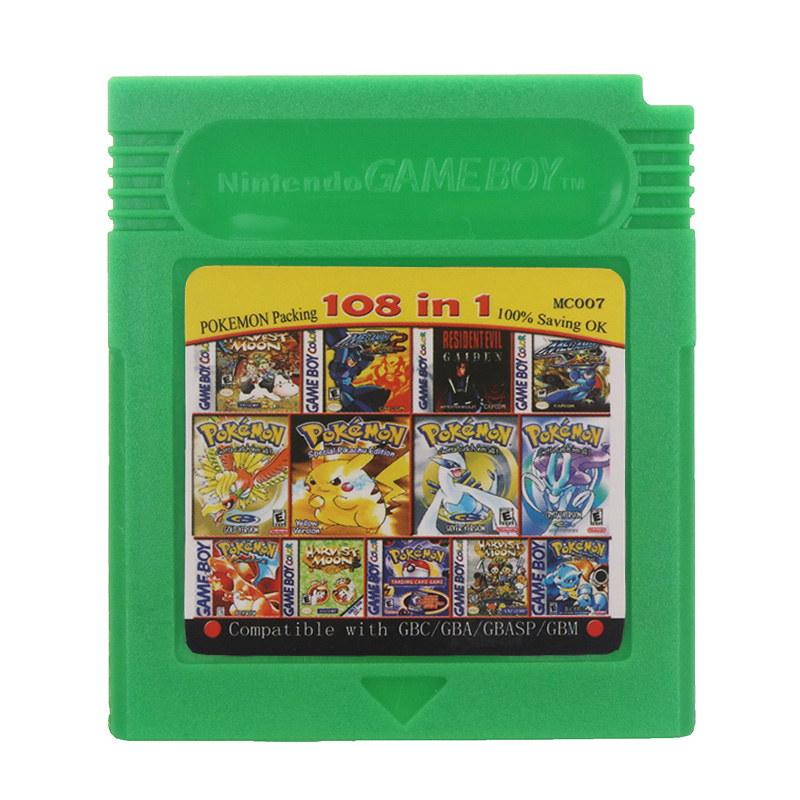 For Nintendo GBC Video Game Cartridge Console Card 108 in 1 Compilation English Language Version