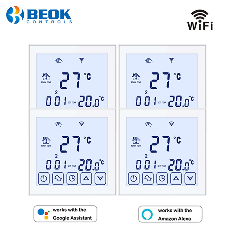 Beok 4 Pcs/pack 220V Thermostat Wifi Underfloor Heating Temperature Controller 16A Works With Google Home Alexa