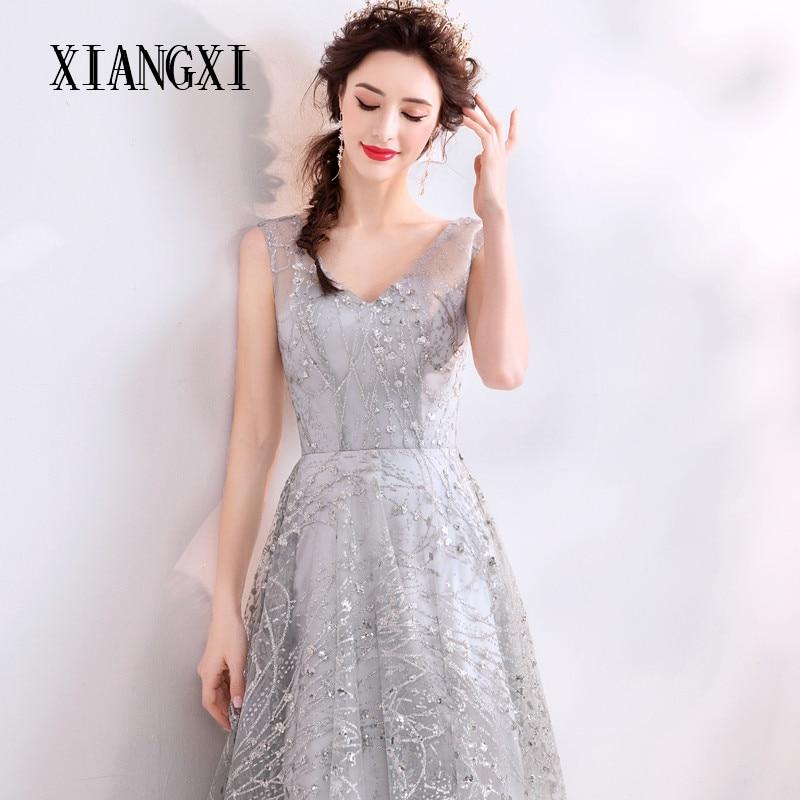 XIANGXI Vestidos Silver Evening Dresses Long V-Neck Sleeveless Evening Dress Formal Party Gowns Robe de soiree abendkleider