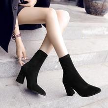 купить 2019 New Fashion Spring Autumn Platform Ankle Boots Women Thick Heel Platform Boots Ladies Worker Boots Black по цене 585.27 рублей