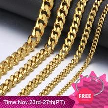 3/5/7mm acier inoxydable collier pour hommes femmes or noir argent couleur collier gourmette lien chaînes hommes mode bijoux cadeaux LKN12