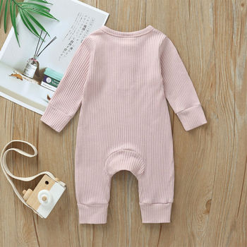 Babies Ribbed Cotton Romper for Sleeping 5