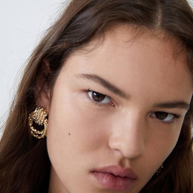 Irregular Metal Gold Rhinestone Dangle Drop Crystal Earrings 3