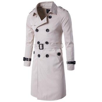 Spring Autumn Plus Ivory Trench Coats Mens X-long Overcoats European Casual Slim Jacket Coats Men Windbreaker Streetwear A869