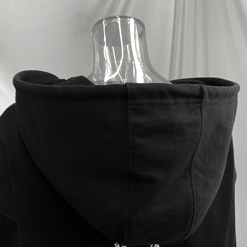 [EAM] Loose Fit  Black Metal Chain Short Sweatshirt New Hooded Long Sleeve Women Big Size Fashion Tide Spring Autumn 2020 1DB716 4