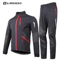 Conjuntos de jeresy de Ciclismo de invierno, ropa de ciclismo para hombre a prueba de viento, ropa cálida para bicicleta, chaqueta de manga larga, conjuntos de pantalones, trajes deportivos