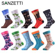 SANZETTI 10 Pairs/Men's Combed Cotton Socks Animal Series Happy Crew Socks Flami