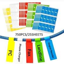 Bộ 750 Dây Cáp Nhà Tổ Chức Nhãn Dán A4 Giấy Dây Mạng Ethernet Cáp Điện Nhãn Dây Thẻ Đánh Dấu In Hình Dán