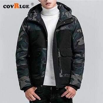 Covrlge Men Zipper Hooded Coat Parka 2019 Winter Camouflage Men's Jacket Warm Fits Big-pocket Coat Men's Clothes MWM093