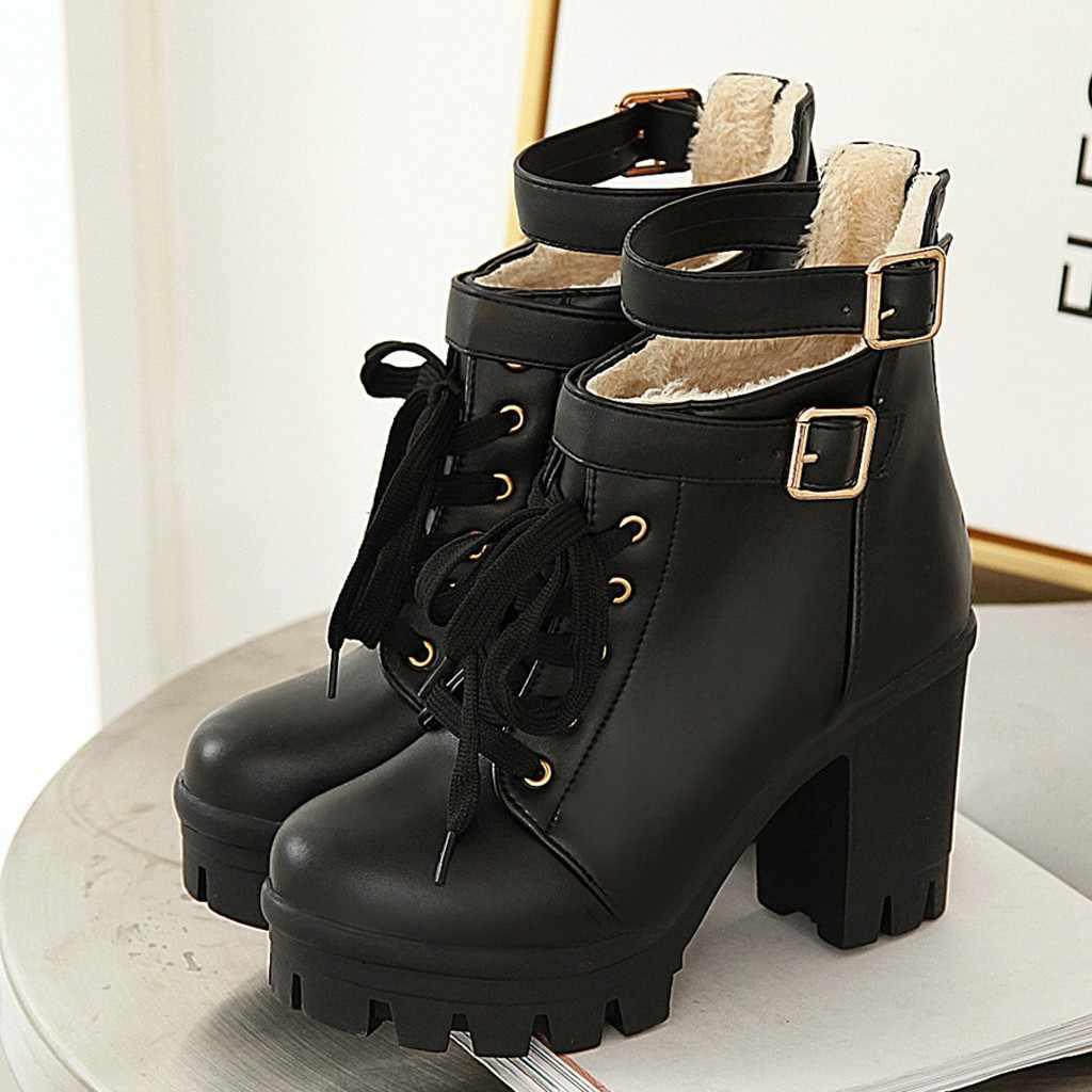 Winter Stiefeletten Für Frauen Motorrad Stiefel Chunky Heels Plüsch futter Spitz ferse Verband Plattform Stiefel Schuhe Weibliche Retro