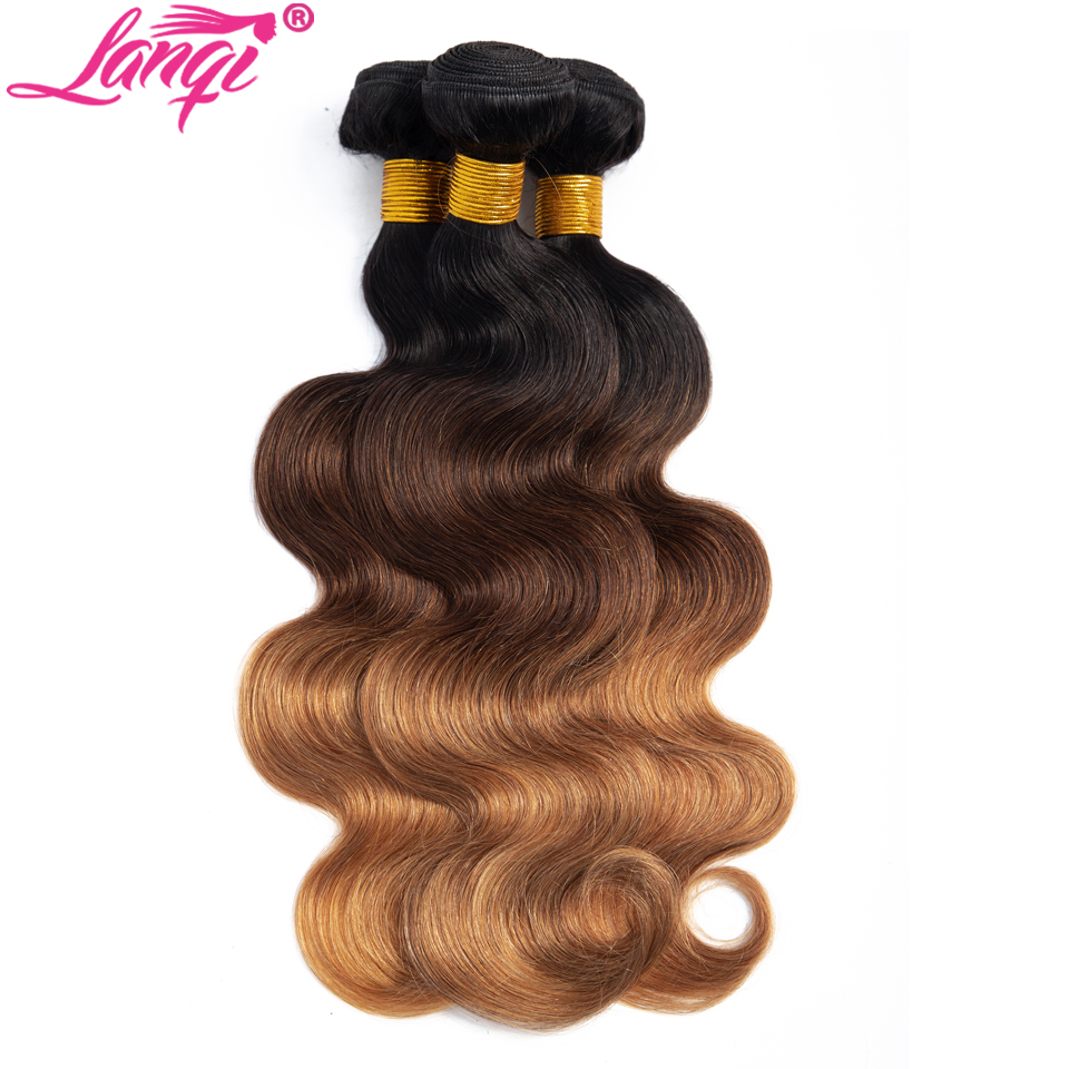 Lanqi hair Brazilian Body Wave Hair 3 Bundles With Closure honey Blonde bundles with closure T1B 4 30 Human Hair 3 tone Ombre Bundles With Closure