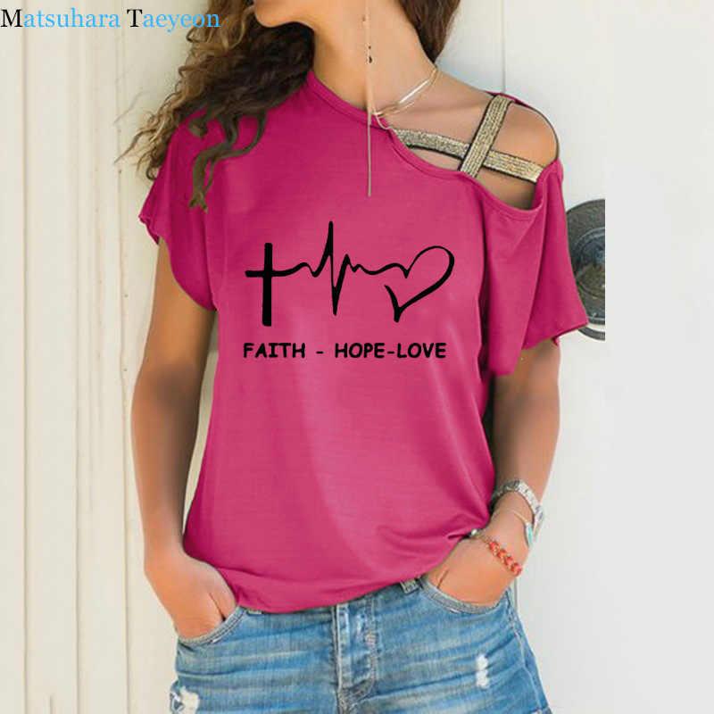 Geloof Hoop Liefde Christian Vrouwen T-shirt Slash Hals T-shirt Dames Casual T-shirt Zomer Casual Onregelmatige Skew Cross Bandage Tops