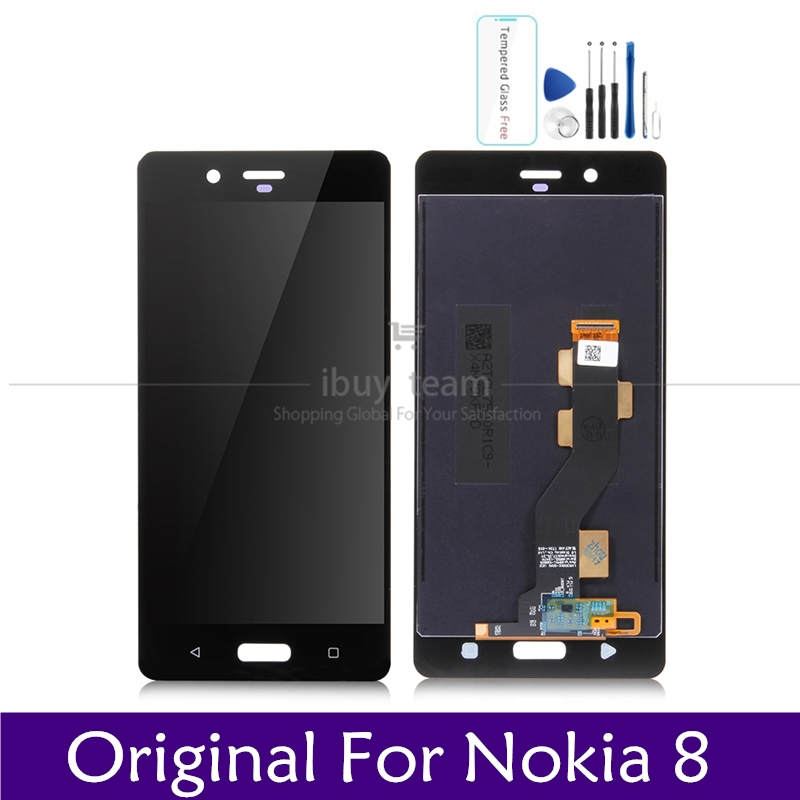 Original Screen For Nokia 8 LCD Display Touch Screen Panel 5.3  For Nokia8 LCD Digitizer Assembly Replacement Spare Repair PartsMobile  Phone LCD Screens