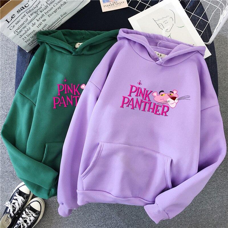 Hoodies Korean Women Autumn Winter Coat Polar Fleece Pink Panther Sweatshirts Harajuku Funny Kawaii Clothes M-XXL