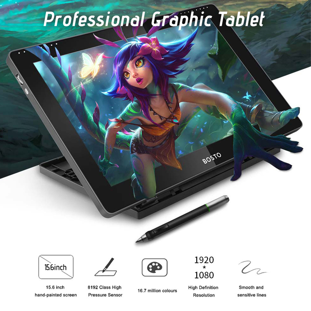 BOSTO BT 16HDT 15.6Inch H IPS LCD Graphics Tablet  Drawing Tablet Display 8192 Pressure Level Passive Technology with Stylu Pen