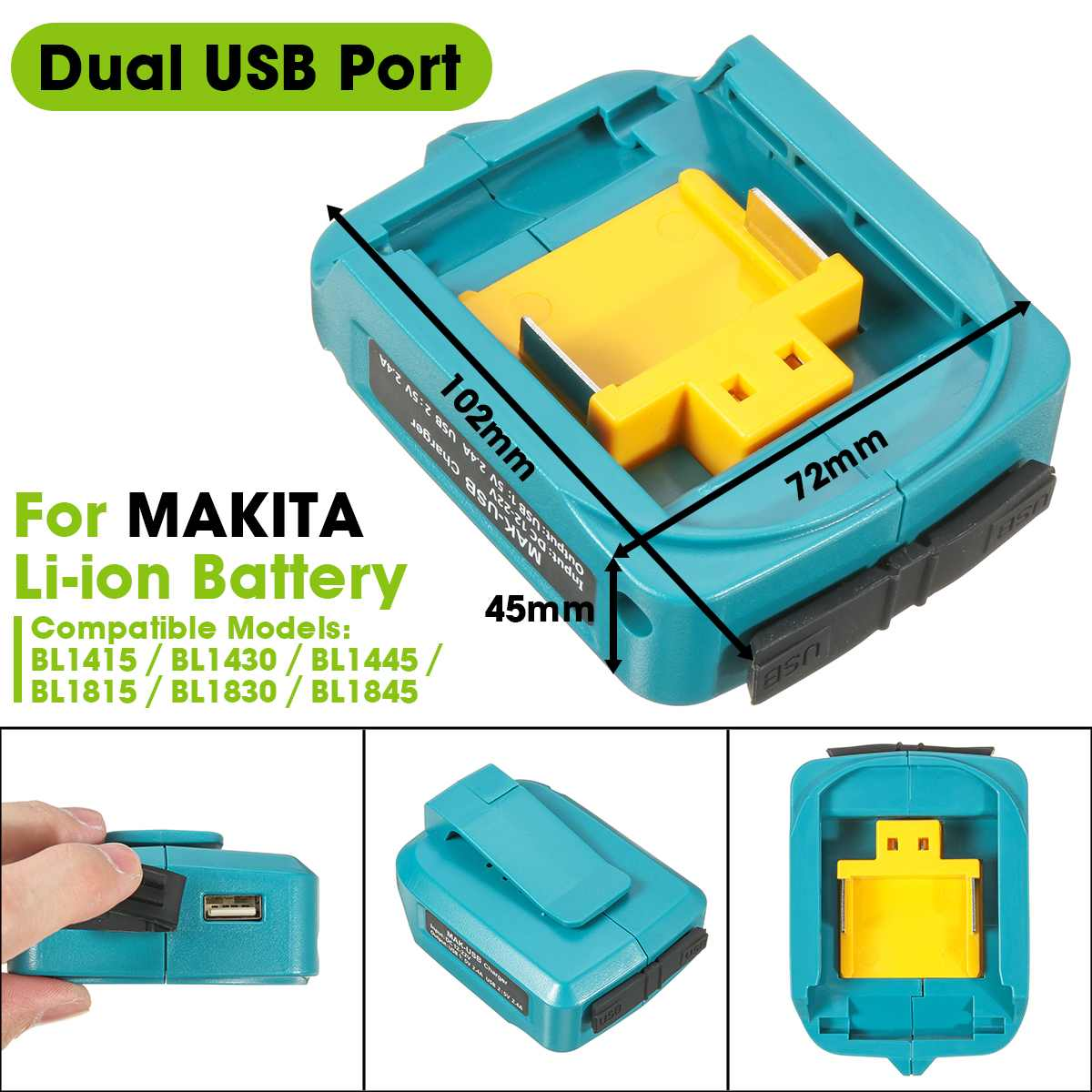 Dual USB Port <font><b>Adapter</b></font> Charging <font><b>Adapter</b></font> Converter For MAKITA 12-<font><b>22V</b></font> Li-ion Battery image