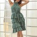 Sommer Grün Frauen Kleid Sleeveless Hängenden Hals Floral Druck Kräuselte Off-die-schulter Chiffon Damen Kleid Lose Sommerkleid heißer