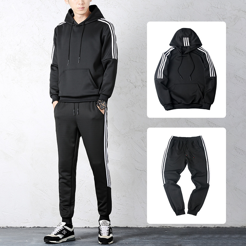 Hoodie Suit Men's 2019 Autumn & Winter New Style Korean-style Hooded Three Bars Hoodie Large Size Loose-Fit Trousers Two-Piece S