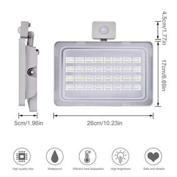 100W 220V LED Floodlight PIR Motion Sensor Led Flood Light Warm White 3000K Outdoor Light Waterproof IP65 Spotlight Lamps