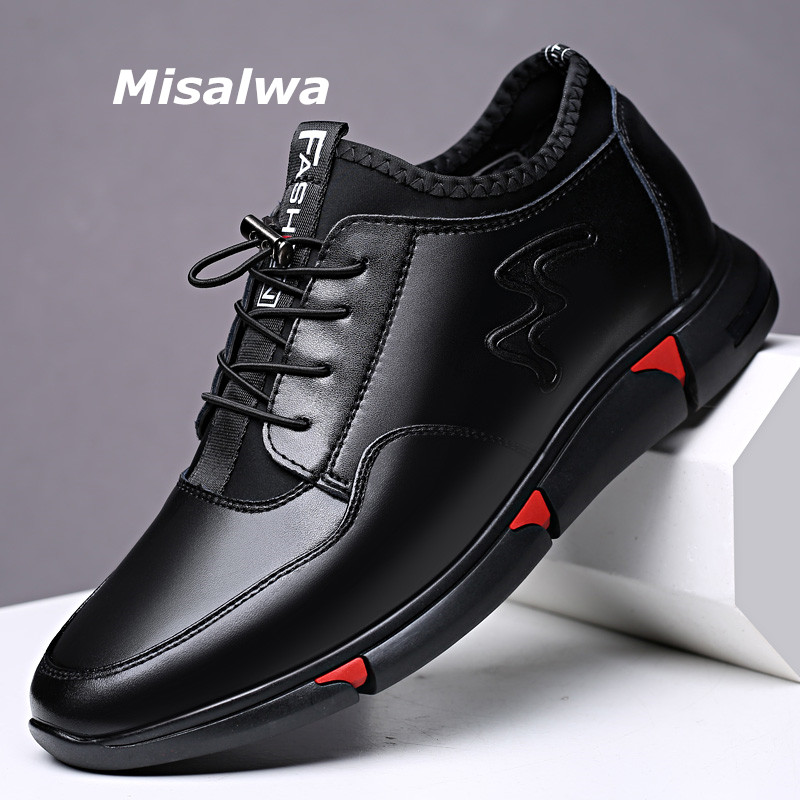 Misalwa Hollow Shoes for Men Cow Split Leather Casual Sneaker Men 5/7Cm Rise Height Increased Elevator Shoes Men Taller Function