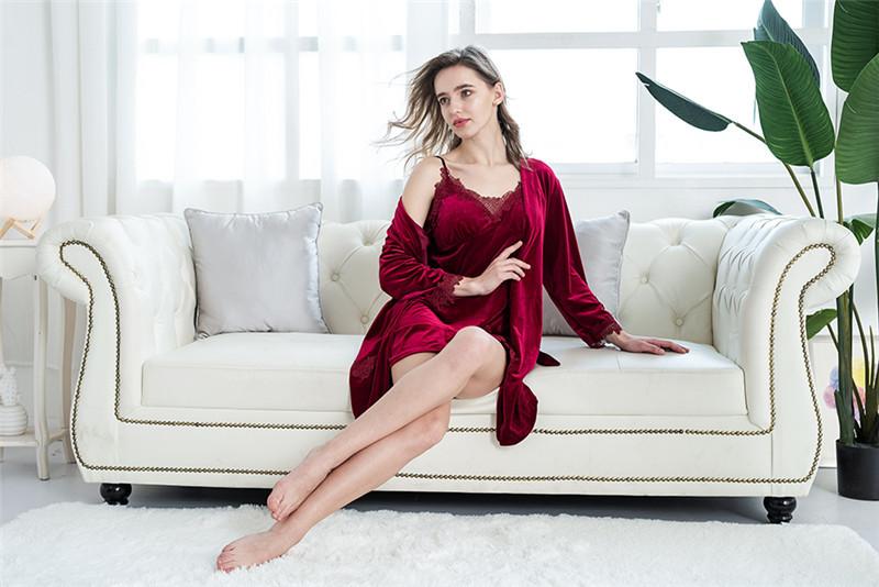 Gold Velvet 4 Pieces Warm Winter Pajamas Sets Women Sexy Lace Robe Pajamas Sleepwear Kit Sleeveless  Nightwear - sleepwear