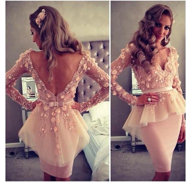 2018 Vestido De Festa Curto Long Sleeve Flowers Open Back Short Party Prom Gown Robe Demoiselle D'honneur Bridesmaid Dresses