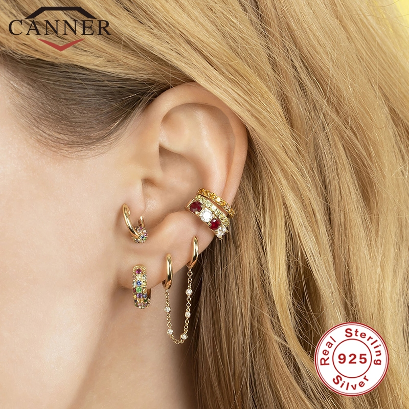 CANNER Fashion Jewelry 925 Sterling Silver Earrings Tassel Retro Long Stud Earrings Chain Earrings Brincos European & American