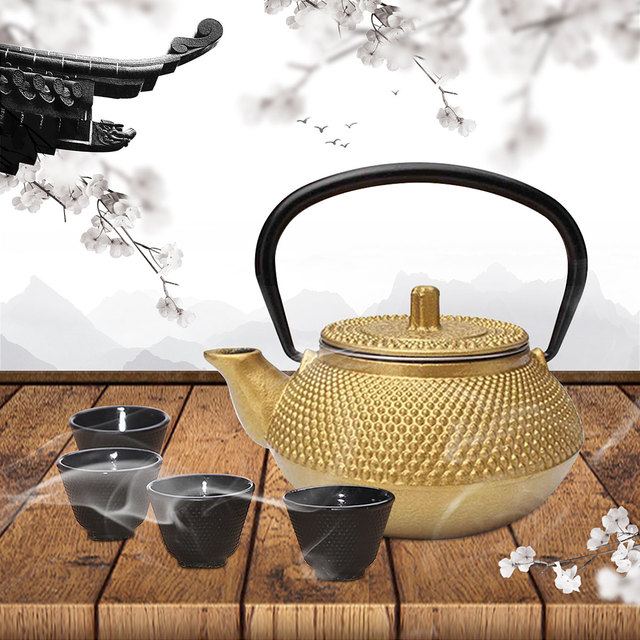 Cast Iron Tea Pot Teapot Japanese Style Kettle With Strainer Flower Tea Puer Kettle Coffee Teapot 300ml 2