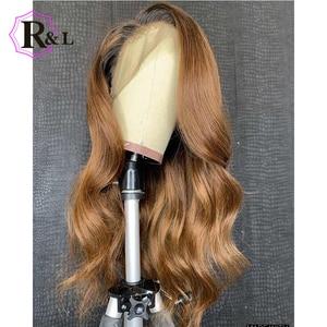 Image 4 - RULINDA 1B/27 человеческие волосы на шнуровке с эффектом омбре, диаметром 13*4, бразильские волнистые волосы без Реми, парики на шнуровке плотностью 130%