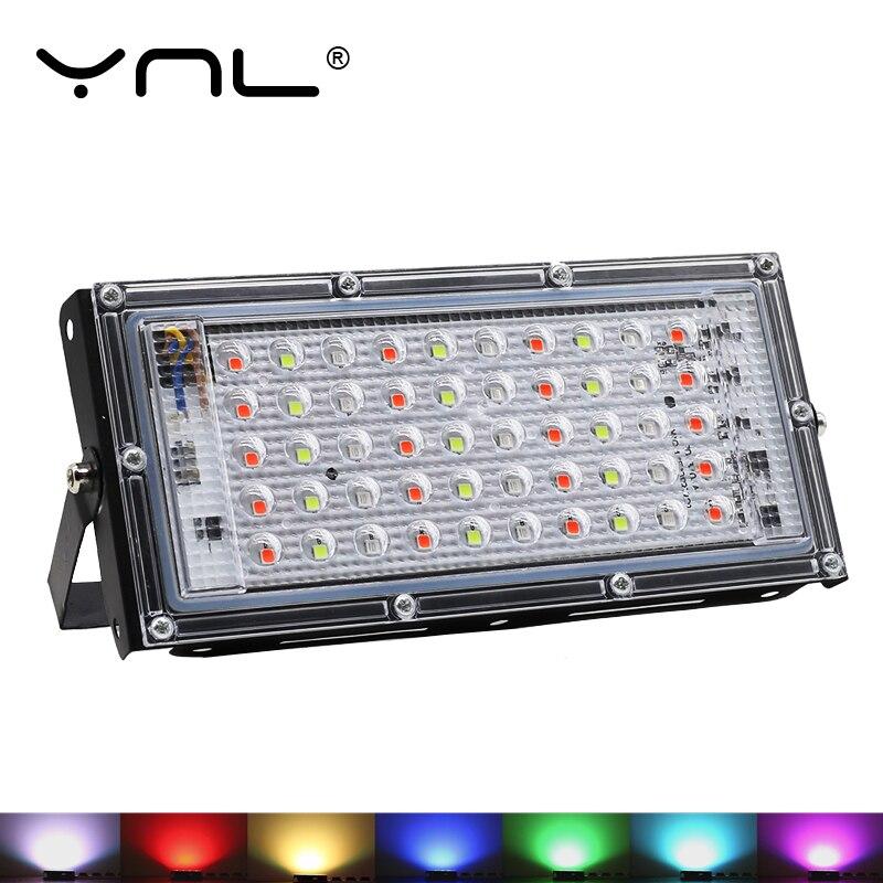 7 Colors RGB SMD 50W LED Flood Light 220V IP65 Spotlight Outdoor Reflector LED Projector Spot Light Lamp Waterproof Floodlight
