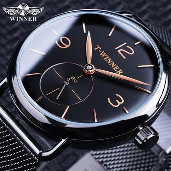 Winner Black Mens Mechanical Watches Simple Slim Thin Hand Wind Analog Stainless Steel Mesh Band Wristwatches Clock Watch Montre thin case mens wristwatch nylon watch band casual men wood watch analog dial display black stainless steel buckle montre homme