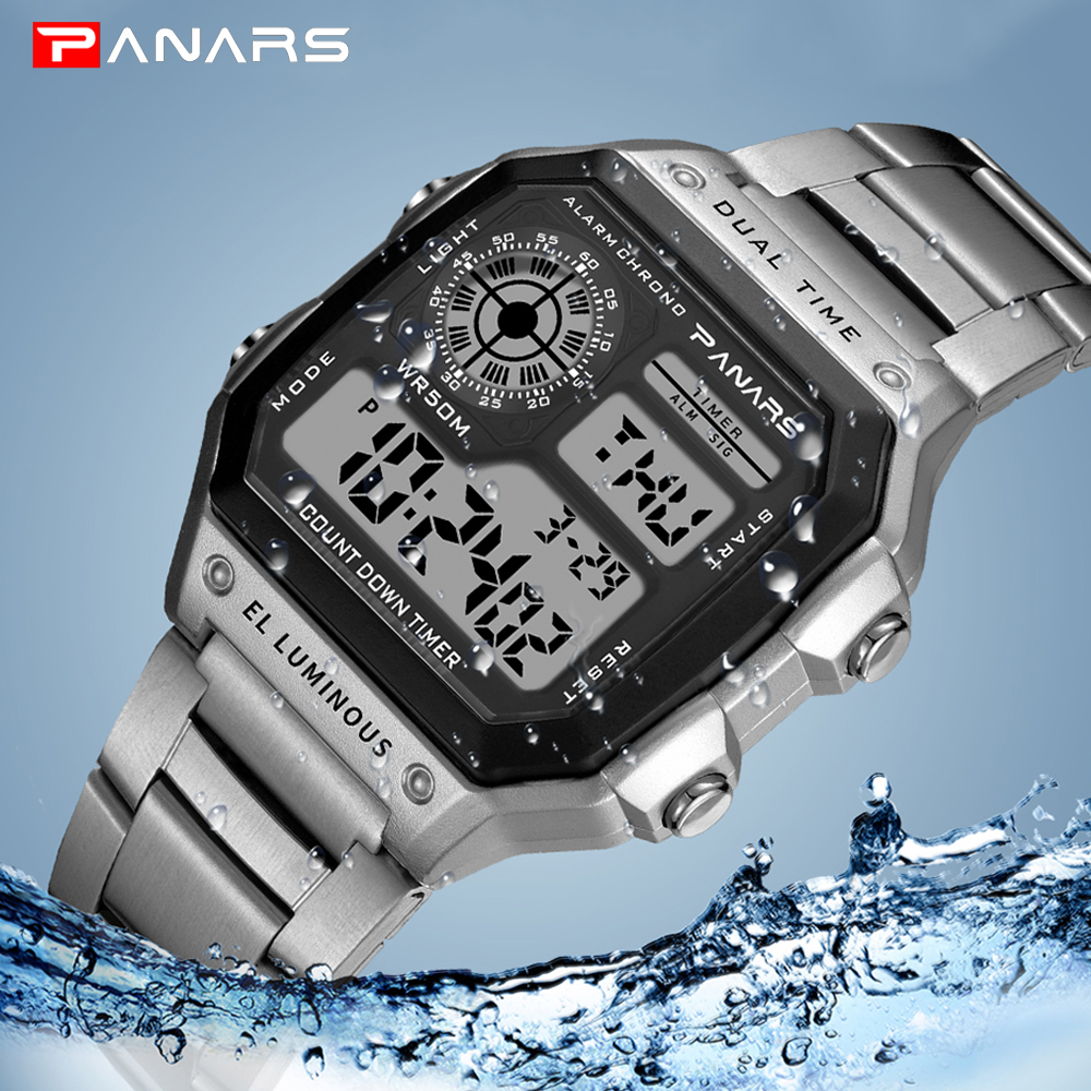PANARS Business Men Watches Waterproof Sport Watch Stainless Steel Digital Wristwatches Clock Relogio Masculino Erkek Kol Saati