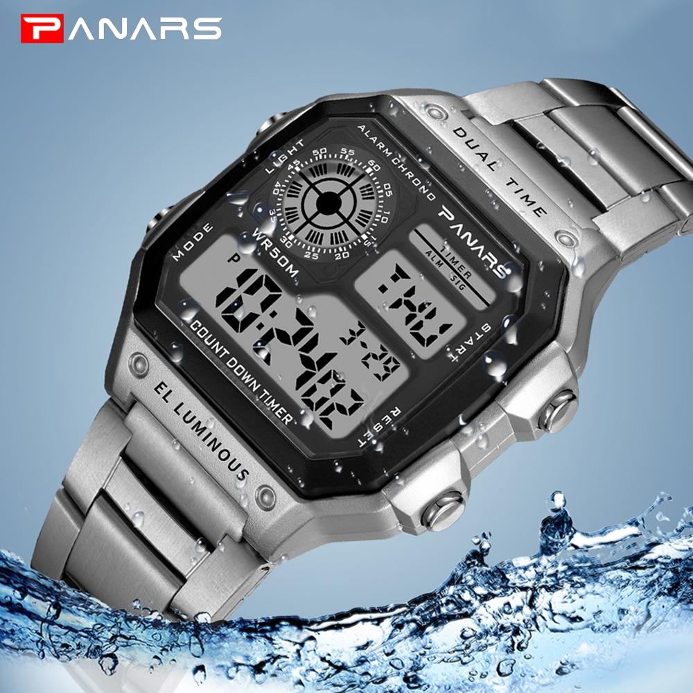 PANARS Business Men Watches Waterproof Sport Watch Stainless Steel Digital Wristwatches Clock Relogio Masculino Erkek Kol Saati