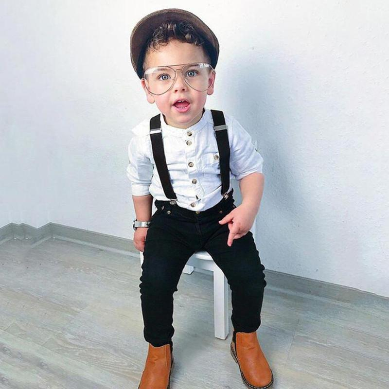 Toddler <font><b>Boy</b></font> Clothes Autumn Children Clothing Baby <font><b>Boys</b></font> Clothes Gentleman Sets Long Sleeve Shirt Suspender Trousers Suits Outfits image